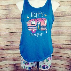 Happy Camper pajama short set Med 8/10